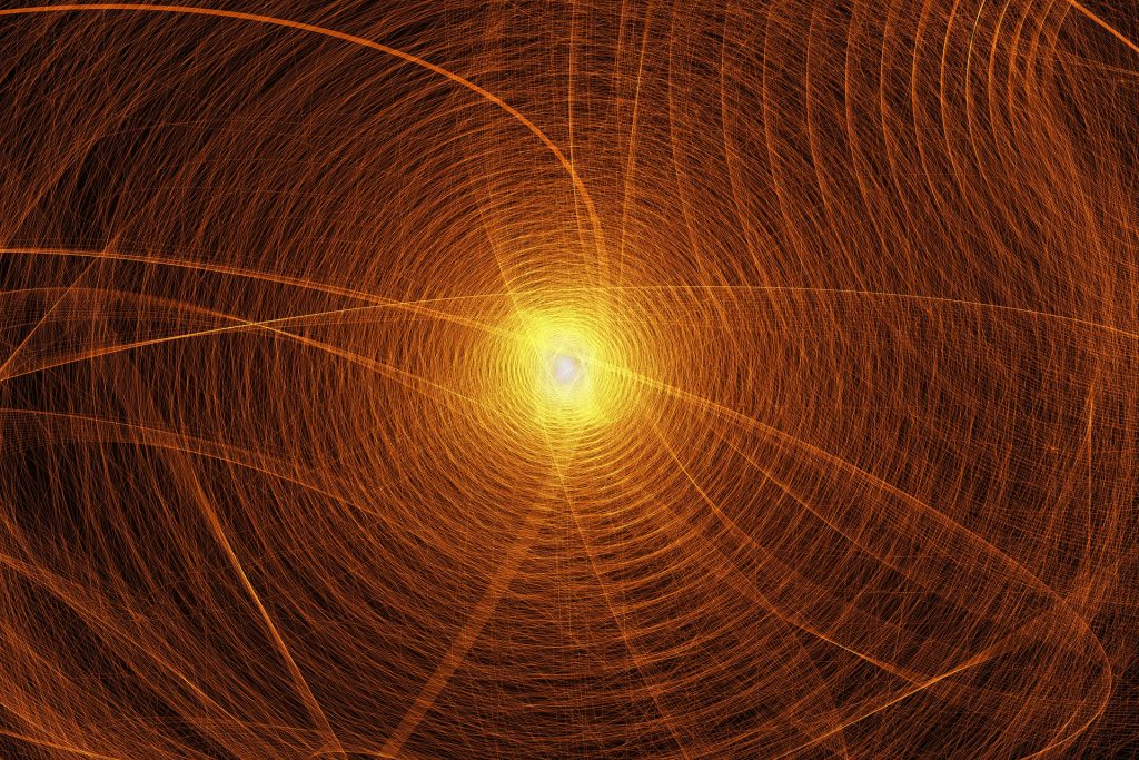 Abstract representation of a particle in a quantum energy field